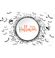 happy halloween lettering with circle space vector image vector image