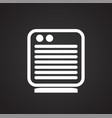 heater icon on black background for graphic and vector image