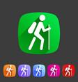 hiking treking icon icon flat web sign symbol logo vector image