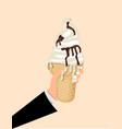 hold ice cream cone vector image vector image