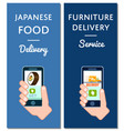 japanese food and furniture delivery flyers vector image vector image