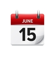June 15 flat daily calendar icon Date vector image vector image