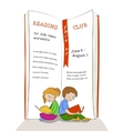 Kids reading education club advertisement vector image
