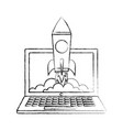 laptop rocket start up success business vector image