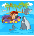 monkey photograph of dolphins vector image vector image