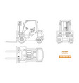 outline blueprint of forklift top side front vector image vector image