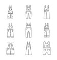 overalls workwear icons set simple style vector image vector image