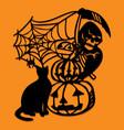 paper cut silhouette halloween grim reaper vector image vector image