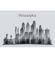 Philadelphia city skyline silhouette in grayscale vector image vector image