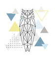 polygonal owl on abstract background vector image vector image