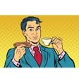 retro businessman eating breakfast coffee and vector image vector image