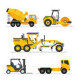 set of construction heavy machines vehicles vector image