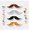 set of mustaches on abstract background vector image