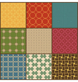 Set of nine retro simple geometric seamless vector image vector image