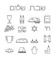 Shabbat symbols set vector image vector image