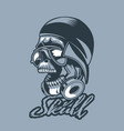 skull in a cap and headphones monochromic tattoo vector image vector image