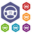 steering wheel of taxi icons set vector image vector image