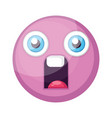 supprised pink round emoji face on a white vector image vector image