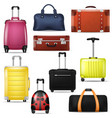 travel bag realistic luggage suitcase vector image vector image