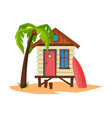 tropical beach bungalow on sea coast summer vector image