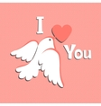 Valentine card with white dove and heart vector image vector image