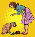 woman scolds guilty dog broken pot with flower vector image vector image