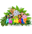 Word animal with cartoon animal vector image vector image