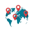 World map location pins global gps vector image
