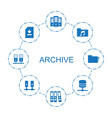 8 archive icons vector image vector image