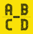 alphabet celtic golden style in a set abcd vector image