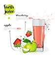 apple strawberry mix cocktail of fresh juice hand vector image