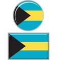 Bahamas round and square icon flag vector image
