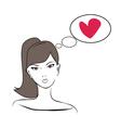 Beautiful girl thinking vector image