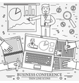 Business man giving a presentation Thin line icon vector image vector image