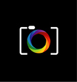Camera with colorful aperture- photography logo vector image vector image