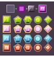 Cartoon diamonds set in editable different colors vector image