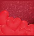 ccose up hearts in valentines day background vector image vector image