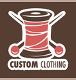 custom clothing shop icon threads coil and needles vector image vector image