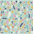cute hand drawn romantic doodles seamless pattern vector image