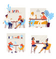 different people having coffee break and meetings vector image