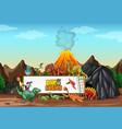 dinosaurs cartoon character in nature scene vector image vector image
