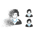 dissolved pixel halftone brunette lady icon with vector image vector image
