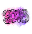 doodle year 2018 with boho pattern and watercolor vector image