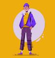 fashionable guy character design cartoon vector image vector image