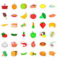 food shopping icons set cartoon style vector image vector image
