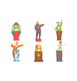 funny men cartoon characters giving speech at vector image vector image