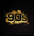 golden 90s abstract design isolated on black vector image vector image