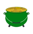Green pot full of gold coins icon vector image vector image