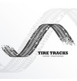 grunge black tire tracks on white background vector image