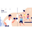 gym landing people doing fitness exercises vector image